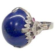 Platinum Lapis Lazuli Ring