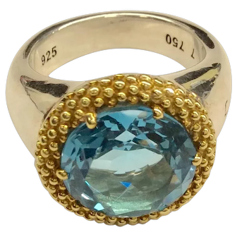 Lagos Sterling 18K Blue Topaz Ring