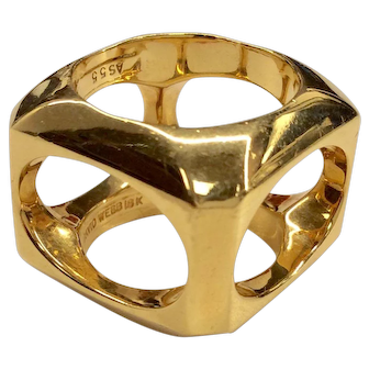 David Webb 18K Open Cube Ring