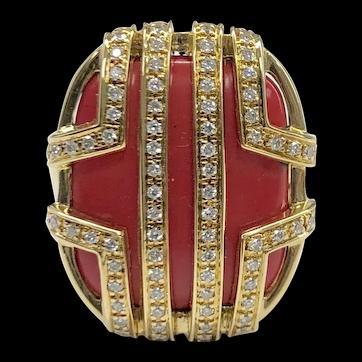 DiModolo 18K Favola Coral Diamond Ring