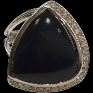14K Modern Onyx Diamond Ring