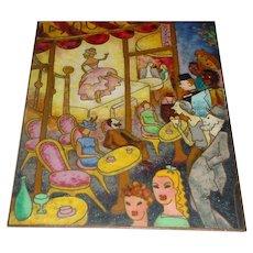 Highly Unusual Original Vintage (Possibly Earlier 20th Century) Modern French Cubist Art Deco Cloisonné Enamel-on-Copper Art Plaque that Depicts Paris Night Life – Including Cabaret Dancing, Street Scenes, Romantic Couples, Open-Air Café, and Byrrh!