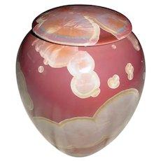 Signed Original John Manka Mankameyer Crystalline Glaze Porcelain Studio Pottery Covered Jar Arts & Crafts Revival