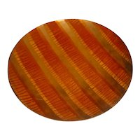 Nice Original Vintage 1960s or 1970s Signed Modern Enamel-on-Copper Art Plate created by New Jersey Artist Elly Edwards that Displays a Beautifully Rendered Linear Line Abstraction!