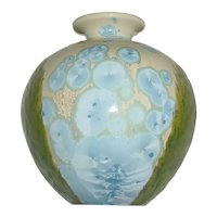 "Beautiful Original Vintage Signed ""Davidson"" Modern Blue & Green Combined Crystalline and Moss Glaze Studio Art Pottery Vase Possibly by Southern Folk Potter"
