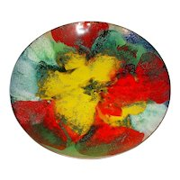 """Beautiful 8 ½"""" Original Vintage Signed Modern Enamel-on-Copper Bowl created by Massachusetts Artist Lilyan Bachrach (1917-2015) that Displays Vibrant Impressionist Flowers Rendered in Red, Yellow, Green, White & Black!"""