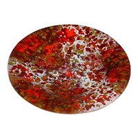 """Outstanding Original Vintage Signed Modern Midcentury Enamel-on-Copper Bowl created by Massachusetts Artist Donald """"Don"""" Andrick (1938-1996) that Displays a Beautiful Mosaic-Like Abstract Colorfield Rendered in Red, Orange, Brown & White!"""