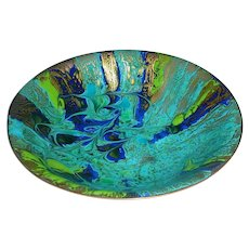 """Spectacular 9"""" Original Vintage Signed Modern Enamel-on-Copper Bowl created by Rancho Mirage, California Artist Laura Smith that Displays an Abstract Action Painting Comprised of Drips & Swirls Rendered in Green Blue, Black, & Gold!"""