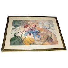 Rare Original Vintage Signed Joe Kotzman Modern Art Surreal Dreamscape Watercolor Painting Pig-Lamb Insect Monster Girl In Highchair