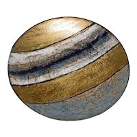 """Beautiful 8 ¾"""" Original Vintage Modern Midcentury Italian Enamel-on-Steel (not copper) Art Bowl that Displays an Colorfield Abstraction Comprised of Linear Segments Rendered in Gold, Black & White, and Greyish-Blue!"""
