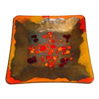 """8 ¾"""" Original Vintage 1940s or 1950s Signed Modern Midcentury Enamel-on-Copper Art Bowl or Plate created by Provincetown, Massachusetts Artist Frank Lee w/ Abstract Colorfield Rendered in Red, Orange, and Brown!"""
