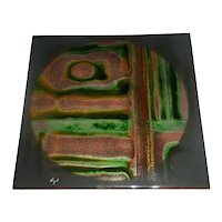 """Top-Level Original Vintage Signed & Titled Modern Enamel-on-Copper Art Plaque / Painting created by California Artist Evangeline """"Evangel"""" Barnes that Displays an Abstract Geometric Design Rendered in Green, Brown, and Golden Enameling!"""