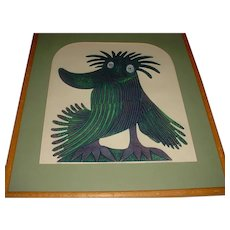 """Magnificent Original Modern Color Etching / Modern Art Print created by Chilean-Born American Artist Sergio Gonzalez-Tornero (1927-2020) titled """"The Crested Trumpeter of Assam"""" from 1970 w/ Original Oak Wood Frame!"""