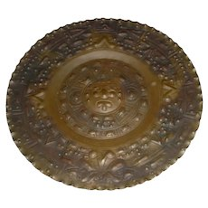 """Beautifully-Made 14"""" Original Signed Vintage Midcentury Handmade / Hand-Tooled Brass Plate or Plaque created by the Alonzo Brothers of Mexico that Displays  """"Tonatiuh""""  -- Aztec God of the Sun, Fertility, & Sacrifice!"""