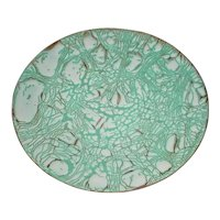 """Large 11 3/8"""" Original Signed and Dated 1959 Modern Vintage Midcentury Enamel-on-Copper Art Plate created by Montana and Arizona Artist Helen Lautman that Displays a Sumptuous White & Green Abstract Crawl / Fissure Design!"""