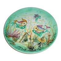"Large 13+"" Outstanding Original Signed Cantagalli Majolica Art Pottery Plate Colorful Modern Midcentury Italian Ceramics Disney-Like Cleo Fish"