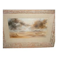 """Beautifully Rendered Original Modern Oil-on-Board Painting Signed """"Balzer"""" that Displays a Man and Dog standing within a Vast Desert Landscape as a Monsoon Storm takes over the Daytime Sky!"""