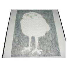 """Framed Original Artist Signed, Dated 1979, and Titled """"Little Owl"""" Embossed Color Etching / Modern Art Print that Displays a Young-Looking Owl w/ Green Eyes, White Body and Legs, and set Against a Nighttime Black Background!"""