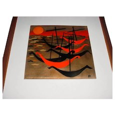 Rare Original Vintage 1960s or 1970s Signed Modern Midcentury Enamel-on-Copper Plaque Designed by Massachusetts Artist Judith Daner for either Bovano of Cheshire or Robert Wuersch Associates depicting a Seascape w/ Viking Long-Boats!