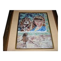 """Large 16"""" X 12"""" Original Vintage 1970s or 1980s Modern Enamel-on-Copper Painting / Plaque created by Florida Artist Dominic """"Dom"""" Mingolla that Displays a Snowy Winter Portrait Scene of a Young Girl & Her Dog Looking at a Sparrow Bird!"""