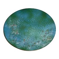 """Outstanding 9 ¾"""" Signed Original Vintage 1980s / 1990s Modern Enamel-on-Copper Art Plate created by Wayne, New Jersey Artist Peg Miller that Displays an Abstract Fish Net Design Submerged in Deep Blue & Green w/ Frothy Gold Bubbles!"""