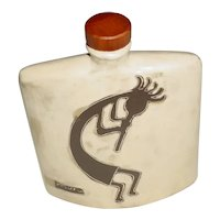 """Original Signed 8 ½"""" Modern Handmade Studio Art Pottery Decanter w/ Wood Stopper created by Mara of Mexico that Displays the Flute-Playing Fertility God 'Kokopelli' rendered on both sides in Brown Glaze set against Frothy Brownish-Cream!"""
