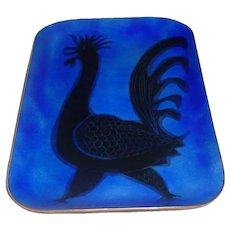 """Original 10"""" Signed Maggie Howe Modern Midcentury Enamel-on-Copper Footed Tray w/ Full-Bodied Black Rooster Modernist Mexican Art!"""