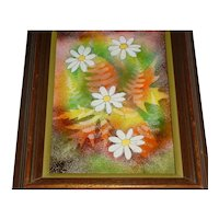 Signed Original Vintage 1960s – 1980s Modern Midcentury Enamel-on-Copper Plaque / Painting created by Donna D. of Bedford Heights, Ohio that Displays a Group of Colorful Leaves & Daisies Rendered in Green, Brown, Orange, Yellow & White!