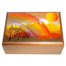 Original Vintage 1960s / 1970s Modern Midcentury Enamel-on-Copper Art & Walnut Wood Box w/ Colorful Rainbow Mountain Landscape!