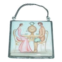 Beautifully Rendered Signed Original Vintage Miniature Hand-Painted Russian Enamel-on-Copper Plaque / Painting that Displays Genre Setting of Young Man & Woman Sitting in Thonet Bentwood Chairs at a Table w/ Samovar & Tea Set!