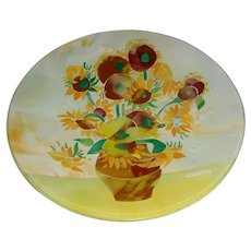 """19 ½"""" Modern Italian Fused Kiln-Fired 'Murrina' Art Glass Plate by OMG (Original Murano Glass) of Venice, Italy Titled """"Omaggio a Van Gogh"""" that re-creates Vincent's """"Sunflowers"""" from 1889 rendered in Yellow, Orange, Green, Brown, White & Blue!"""