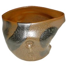 Unusual Signed Modern Japanese Studio Art Pottery Ikebana Vase / Vessel that Displays a Hand-Thrown & Manipulated Asymmetrical Abstract Form w/ Circular Impressions & Bizen-Type Mottled Greenish-Brown Frog-Skin Glaze & Black Painterly Swooshes!