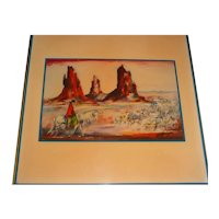 """12"""" X 12"""" Original Vintage 1980s Ceramic Tile-Plaque that Displays an Image of Arizona Artist Ted DeGrazia's Painting """"Bringing in the Sheep"""" – Showing a Navajo on Horseback Herding Sheep in Monument Valley, Utah w/ Mitten & Merrick Buttes!"""