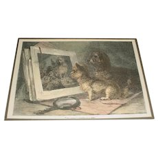 """Original Antique (1850-1885) Color Engraving Print Titled """"The Critics"""" by British Artist Thomas William Earl (active 1836-1885) that Depicts Two Small Terrier Dogs Looking at an Open Portfolio of Color Engravings also Depicting Terrier Dogs!"""