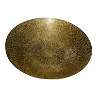"""10"""" Signed Beautifully Handmade Original Vintage Modern Hand-Hammered / Planished """"Sarna Brass"""" Pedestal Bowl made in India that Displays Exquisitely Crafted small Hammer Markings over the Bowl's Entire Interior!"""