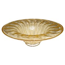 """Large 16 ½"""" Original Vintage Modern Midcentury Italian Thick-Walled Hand-Blown Clear-Aventurine Art Glass Bowl that Displays a Wide Circular Flared Top, Ribbed Underside Body, and Flared Circular Base all Filled with Beautiful Gold Flecks!"""