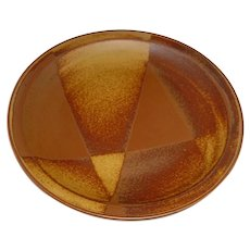 """Original Vintage 12 ¼"""" Signed Modern Art Pottery Plate that Displays the Rust-Brown to Yellowish-Brown Dipped-Glaze """"Roan Mountain"""" Abstract Triangular Pattern Designed in mid 1960s by Nancy Patterson-Lamb for Iron Mountain Stoneware of Tennessee!"""