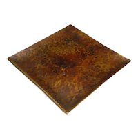 """Signed Original American Arts & Crafts Era Handmade / Hand-Hammered / Planished Brass Footed Plate or Tray Created by Artist """"B. Erickson"""" that Displays a Heavy-Gauge Square Form Sitting atop Four (4) Square Feet w/ Dark Surface Patina!"""