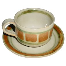 """Vintage Signed Modern Art Pottery Cup & Saucer that Displays the Rust-Brown & Green """"Whispering Pines"""" Pattern Designed in 1967 by Finnish Artist Kyllikki Salmenhaara (1921-1981) for Nancy Patterson-Lamb's Iron Mountain Stoneware!"""
