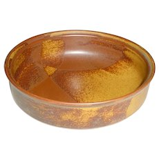 """Original Vintage 7 5/8"""" Signed Modern Art Pottery Bowl that Displays the Rust-Brown to Yellowish-Brown Dipped-Glaze """"Roan Mountain"""" Abstract Triangular Pattern Designed in mid 1960s by Nancy Patterson-Lamb for Iron Mountain Stoneware of Tennessee!"""