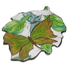 Original Handbuilt Signed and Dated 2009 Farraday Newsome Modern Studio Art Pottery Leaf-Shaped Tray w/ Naturalistic Organic Butterfly or Moth Design!