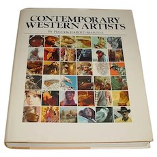 """680-Page Out-of-Print 1st Edition Hardcover Book """"Contemporary Western Artists"""" by Peggy & Harold Samuels that Shows & Discusses Painting & Bronze Sculpture by John Clymer, VaLoy Eaton, Arnold Friberg, A.D. Greer, Allan Houser, John Nieto, & Others!"""