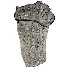 "Original Vintage 10"" Signed Louis Sclafani / Belltower Studios Italian-Style Modern Art Glass Handkerchief-Type Vase w/ Zanfirico / Latticino"