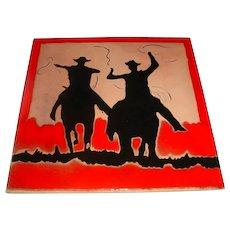 "Large 13"" X 13"" Vintage Signed Modern Studio Art Pottery Tile by Prescott, Arizona Artist ""Betty"" Red & Black Cowboys on Horses Swinging Lassos!"