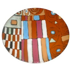"""Large 16 ¾"""" Vintage Modern Geometric Abstract Glazed Pottery Plate / Charger by Empire Art Products, Miami, Florida w/ Rectangles, Circles, Spirals, Squares, Triangles!"""