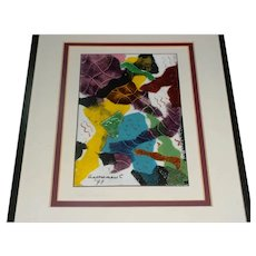 """Framed Signed Carole & Don Schupp Modern Abstract Enamel-on-Copper Art Plaque Titled """"Celebrations"""" Made at Arrowmont School Arts & Crafts"""