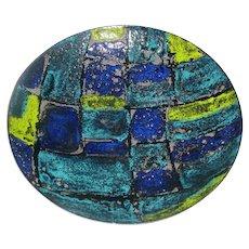 Original Vintage 1950s / 1960s Signed Vallenti Smalto Blue Black Yellow Enamel-on-Steel (not copper) Modern Italian Abstract Design Bowl