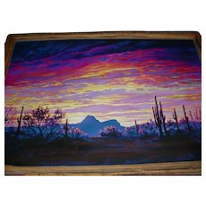 """Professionally-Created Giclee Canvas-Painting by Tucson, Arizona Artist Paul Sheldon (1947-2012) Titled """"Fire Over Sombrero Peak"""" that Displays a Contemporary Fauve-Like Expressionist Southwestern Desert Landscape in a Mesquite Wood Frame!"""