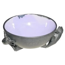 Rare Signed Original Vintage Satin-Matte Black & Lavender-Purple Modern Studio Art Pottery Bowl Created by British Pottery & Metal Artist Anthony Parfitt that Displays a Half-Sphere Form on Buttressed Legs & Three Sculpted Chameleon-Like Lizards!