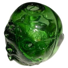 """Signed Original Vintage 1960s / 1970s Hand-Blown and Manipulated Modern Studio Art Glass Vase Created by an Artist Named """"Hazelrigg"""" that Displays an Abstract Expressionist Style Green Spherical Body, Side Brunts & Internal Pulled-Glass Tubes!"""